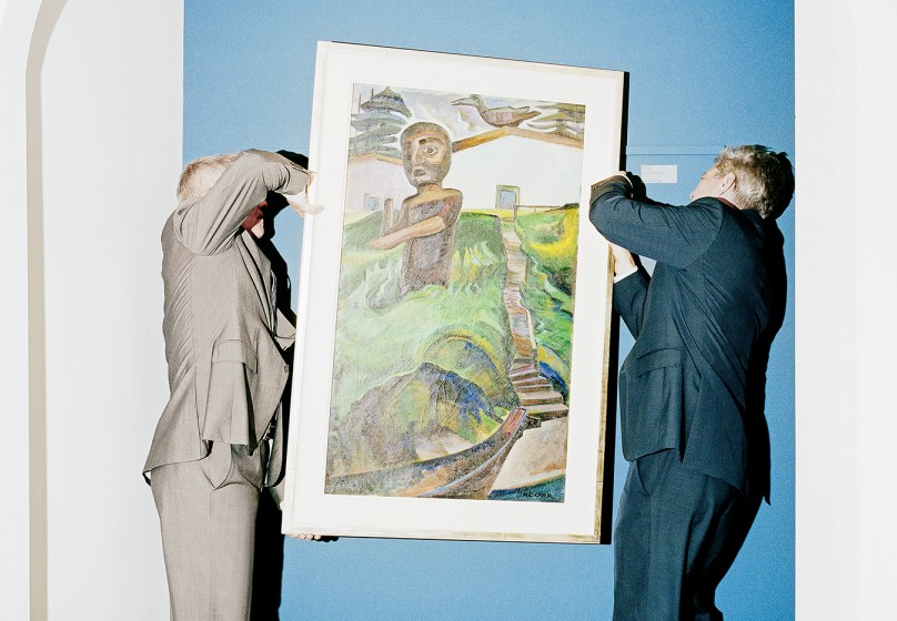 The Heffel brothers lift The Crazy Stair (The Crooked Staircase), 1928-1930, an Emily Carr painting that sold for a record-breaking $3.39-million at Heffel's fall auction last year